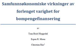 Samfunnsøkonomiske virkninger av forlenget varighet for bompengefinansering