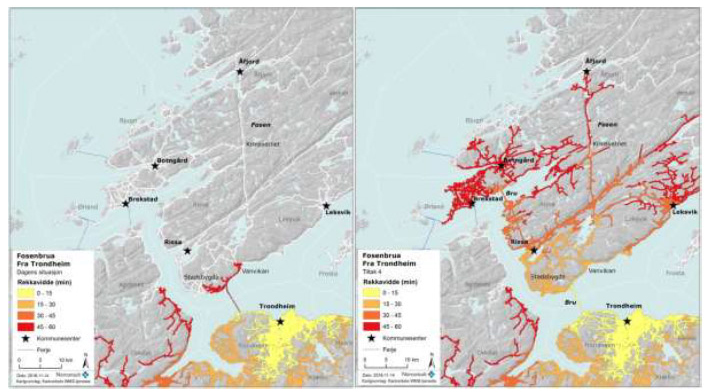 Figure 13 - Reach from center of Trondheim. Today's situation on the left - new with all measures on the right